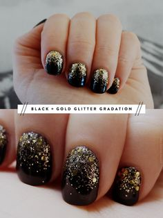 LOVE this gold glitter over black mani. It's calgel but could easily be done in regular polish. @Penelope Pineapple