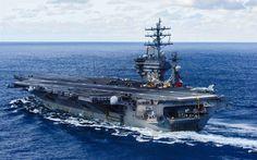 Download wallpapers USS Dwight D Eisenhower, CVN-69, American aircraft carrier, Nimitz, F-35, deck, US Navy