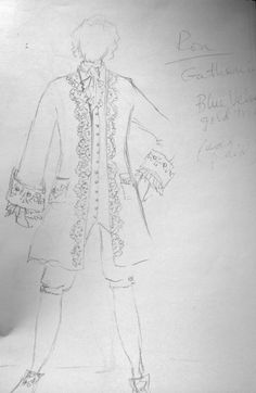 """Sketch of Ronald D. Moore's """"The Gathering"""" costume on a napkin 