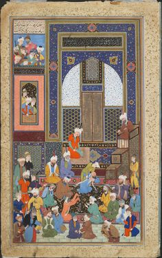 Incident in a Mosque (painting, recto; text, verso), folio 77r from a Divan (collected works) of Hafiz, left-hand side of a double page. Signed by Shaykh Zada, Persian (active 1st half of 16th century)