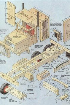 Wooden Truck Plans - Wooden Toy Plans and Projects - Woodwork, Woodworking, Woodworking Tips, Woodworking Techniques Woodworking Furniture Plans, Woodworking Projects That Sell, Woodworking Toys, Intarsia Woodworking, Woodworking Workshop, Woodworking Quotes, Woodworking Guide, Woodworking Skills, Wooden Toy Trucks