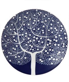 Fable Blue Tree Accent Plate, Royal Doulton