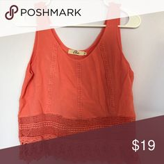 Coral/Orange cropped tank top Lace design on bottom orange/coral cropped tank top great for layering elodie Tops Tank Tops