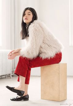 Red Suede Pant, Vintage on Etsy; Striped Turtleneck, Edith A. Miller; Coat, Zara; Shoes, Dieppa Restrepo / Garance Doré