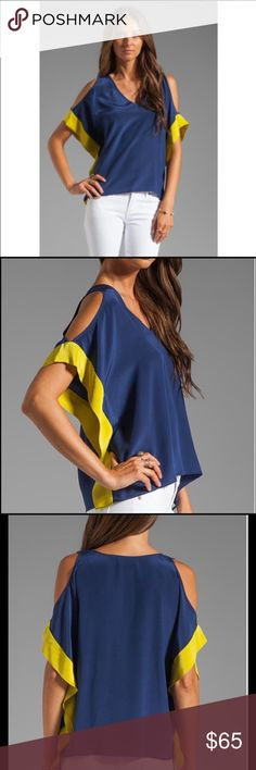 """Akiko Cold Shoulder Top Sz M (S/M) Akiko Cold Shoulder Top 100% Silk Size M but fits a S/M (4/6), Navy & Chartreuse, bought from Revolve $195, worn twice, great condition, top of shoulder measured down 22.5"""" Akiko Tops"""