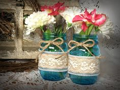 Decorated mason jars, vintage mason jars, shabby chic decor, blue heritage ball mason jars, wedding mason jars on Etsy, $22.00
