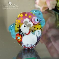 Handmade lampwork bead focal   l    Little White door calypsosbeads