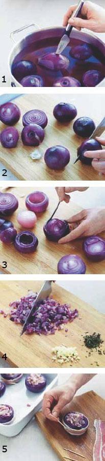 Bagte rødløg i baconsvøb med timian og emmenthaler | Magasinet Mad!