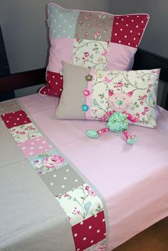 """Vintage-feel bed linen for single & 3/4 beds from our """"Bloom"""" range. Exclusively designed and manufactured by Tula-tu Baby Linen (RSA) - also find us on Facebook. Combination of dots and floral in pink and stone"""