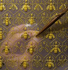 Guerlain - embroidered bees with tambour embroidery
