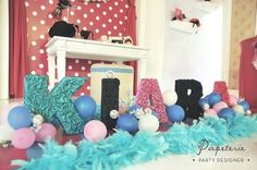 Decorated letters at a fashionista birthday party for a two year old  #fashionista #decor