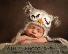 READY TO SHIP Newborn Sleepy Baby Owl Hat by HatAndColdCrochet