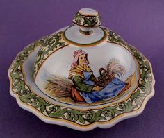 19th c RARE  Porquier Beau QUIMPER French Faience Covered Butter or Cheese Dish