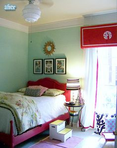 Cute! like the valance and the choice of colors... wonder how it would look with a blue same hue as the green ...