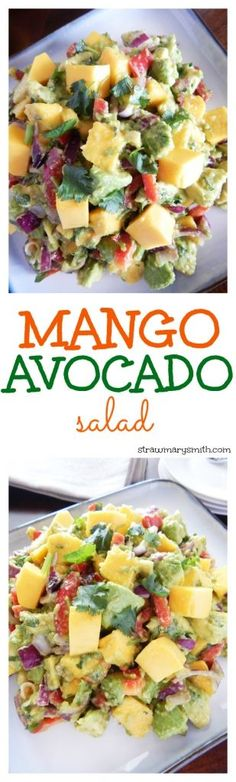 A filling lunch for two or a colorful side dish for your barbecue, this juicy Mango Avocado Salad will have everyone drooling for seconds! | strawmarysmith.com