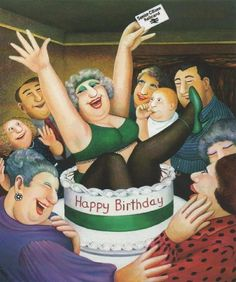 Happy birthday to Beryl Cook, born 10 September Her instantly recognisable paintings depict informal scenes such as people in pubs, curvaceous women out shopping or girls on a hen night. by Beryl Cook (British Artist, Beryl Cook, Plus Size Art, Greeting Card Size, Fat Art, English Artists, British Artists, Hens Night, Happy Birthday, Cooking