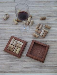 Wine Cork Coasters  DIY set of 2  rustic brown on reclaimed wood by TheWoodenBee
