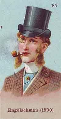 de Engelse dandy met korte kleipijp, lorgnon en hoge hoed, reclameplaatje Caramelfabriek, Breda, 1910-1920