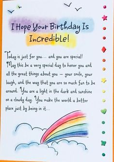Hope Your Birthday Is Incredible! Birthday Greeting Card, bday card, special birthday, friend, Ashley Rice, Blue Mountain Arts, SPS Studios by AshleyRicebooks on Etsy Birthday Wishes For A Friend Messages, Happy Birthday Best Friend Quotes, Messages For Friends, Happy Birthday Wishes Cards, Birthday Cards For Friends, Happy Birthday Special Friend, Happy Birthday For Him, Card Birthday, Brother Birthday Quotes