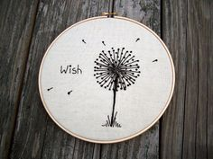 Hand Embroidered Dandelion -Wish -8inch Embroidery Hoop Wall Art. Adorable!