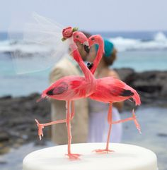 AVAILABLE NOW - Flamingo Wedding Cake Topper As Seen in Bride to Be Magazine via Etsy.
