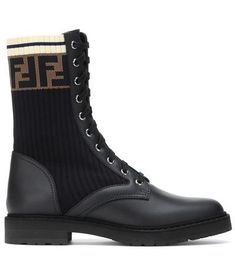 Leather biker boots #shoes #covetme #sponsored Biker Boots, Combat Boots, Fashion Socks, Navy Stripes, All Black Sneakers, Fendi, Your Style, Mini Skirts, Monogram