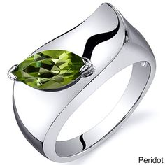 Oravo Sterling Silver Marquise-cut Gemstone Ring (Peridot Size 9), Women's, Green