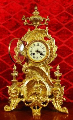 antique clock french 19th c gilt bronze mantle clock garniture set huge 25 - photo angle #4