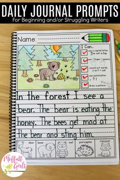 Daily journal prompts for writers in the primary grades. Includes a checklist, picture prompt, and picture words.Daily journal prompts for writers in the primary grades. Includes a checklist, picture prompt, and picture words. Work On Writing, Sentence Writing, Writing Workshop, Writing Centers, Writing Ideas, Writing Checklist, Writing Lessons, Teaching Writing, Writing Skills