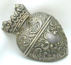 1880s silver heart trinket box