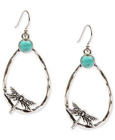 Lucky Brand Earrings, Silver-Tone Oblong Dragonfly and Turquoise Stone Hoop Earrings - All Fashion Jewelry - Jewelry & Watches - Macys
