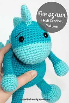 Free dinosaur crochet pattern. Easy to read and follow amigurumi crochet pattern. Great for beginner and intermediate crochet levels.