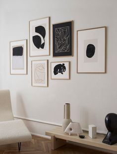 We have styled 6 monochrome art prints and created a gallery wall.  Black, white and and a twist of beige. Sometimes it best to just keep it simple. This art wall balancing the interior perfectly with elements of black and all prints framed our quality solid oak frames. This art wall consists of prints from: Moe Made It, Little Detroit, Studio Paradissi, Jörgen Hansson, Loulou Avenue and Berit Mogensen Lopez.  Discover more from Copenhagen based The Poster Club! #theposterclub #artprint Inspiration Wand, Interior Inspiration, Industrial Wall Art, Scandinavian Living, Scandinavian Wall Decor, Beautiful Wall, Wall Art Designs, Wall Design, Cheap Home Decor