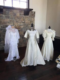 M+B Events | B+C Wedding- What better way to include your family + tell your story than displaying your Mother's, Grandmother's + new Mother-in-Law's wedding dresses.
