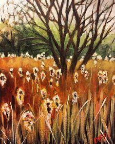 "Daily Paintworks - ""Cattails"" - Original Fine Art for Sale - © Debbie Yacenda"