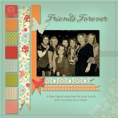 Friends Forever.  Squares and ribbons by Terri Mongeon