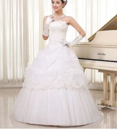 A tier ball gown wedding dress....sweet and feminine. The Sweetest thing is it is available only at USD85 after 50% discount!   http://www.e1weddingdress.com/pd--p-563161-a-0-ex-0-pn-CheapWeddingDressesWhiteOrganzaCrystalFlowersWeddingdressesDiscountOnlineShopping.html