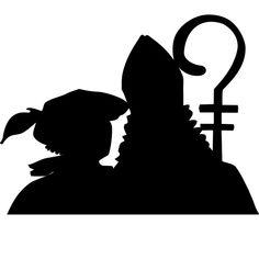 Statisch hechtende Raamsticker van Sinterklaas en Piet Silhouette Curio, Silhouette Portrait, Silhouette Cameo Projects, Kirigami, St Nicholas Day, Stencils, Saint Nicolas, Nouvel An, Reno