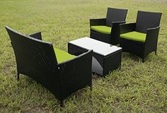 Merax 4 PCS Cushioned Outdoor PE Wicker Patio Set Garden Lawn Rattan Sofa Furniture Conversation Set (Green). | http://landscapeandlighting.net