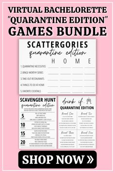 Who says social distancing can't be fun!? Our 'Quarantine Edition' games bundle is perfect for any type of virtual hangout- bachelorette party, bridal shower, or girls night in! Included in this bundle are three popular party games: Drink If, Scavenger Hunt and Scattergories. #virtualbacheloretteparty #virtualbachelorettepartygames #virtualpartygames #ModernMOH #MadebyModernMOH Bachelorette Party Scavenger Hunt, Bachelorette Party Planning, Funny Drinking Games, Things To Do At Home, Party Printables, Birthday Party Decorations, Girls Night, Bridal Shower, Popular