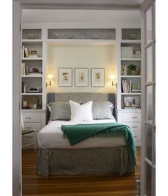 Jeanne Finnerty Interior Design=Maximize your storage space. A floor-to-ceiling fitted unit makes the most of every inch in this bedroom. It cleverly incorporates room to d...