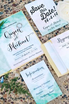 Green water coloured invites