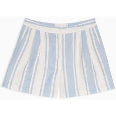 MAX&Co. Striped linen shorts (835 SEK) ❤ liked on Polyvore featuring shorts, light blue, linen shorts, graphic shorts, relaxed shorts, loose fitting shorts and zipper shorts