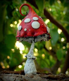 Mama red white Amanita fantasy mushroom ,polymer clay toadstool Home decor,Fairy Garden