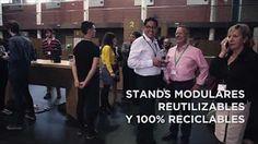 Transmedia Festival. Tecnología y sostenibilidad. Stands y mobiliario ecológico de cartón para eventos. Muebles de cartón.