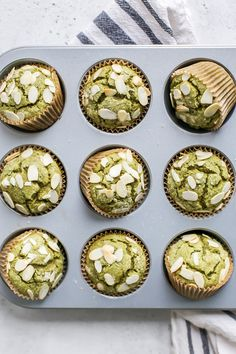 Gluten free and dairy free almond matcha muffins. Made with whole grain flour, almond flour and matcha green tea. Breakfast Snacks, Breakfast Bake, Breakfast Recipes, Dessert Recipes, Perfect Breakfast, Matcha Muffins, Almond Muffins, Matcha Cookies, Healthy Muffins