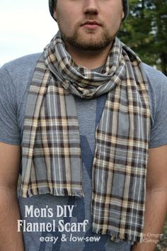Easy, Low Sew Men's DIY Flannel Scarf - a handmade gift they'll actually like! http://anoregoncottage.com/easy-low-sew-mens-diy-flannel-scarf/