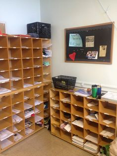 """LARGE and labeled teacher mailboxes. Size matters! Too many schools try to give teachers little file size mailboxes. But the truth is, we collect lots of """"stuff"""" in there… supply deliveries, stacks of papers to distribute…maybe you even stash your coffee cup in there now and again!"""