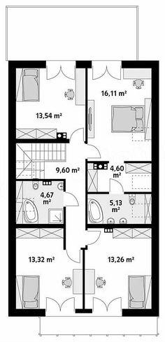 Projekt domu Amarylis 3 152,6 m2 - koszt budowy - EXTRADOM House Plans, Floor Plans, How To Plan, Home Decor, Small Flats, Houses, Trendy Tree, House Design, Decoration Home