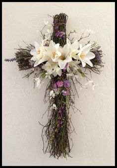 Easter Cross wreath for Nan 2014 Church Flower Arrangements, Church Flowers, Funeral Flowers, Cemetery Decorations, Altar Decorations, Easter Wreaths, Holiday Wreaths, Spring Wreaths, Cross Wreath